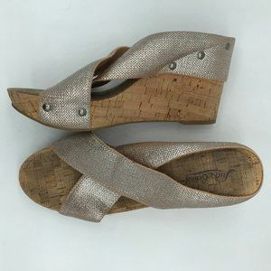 Lucky Brand Miller2 Metallic Canvas Cork Wedge